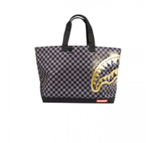 Black and Gray Checkered Tote